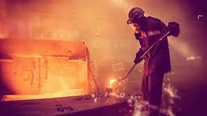 Workers in steel mill